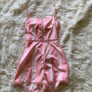 Pink stripe romper